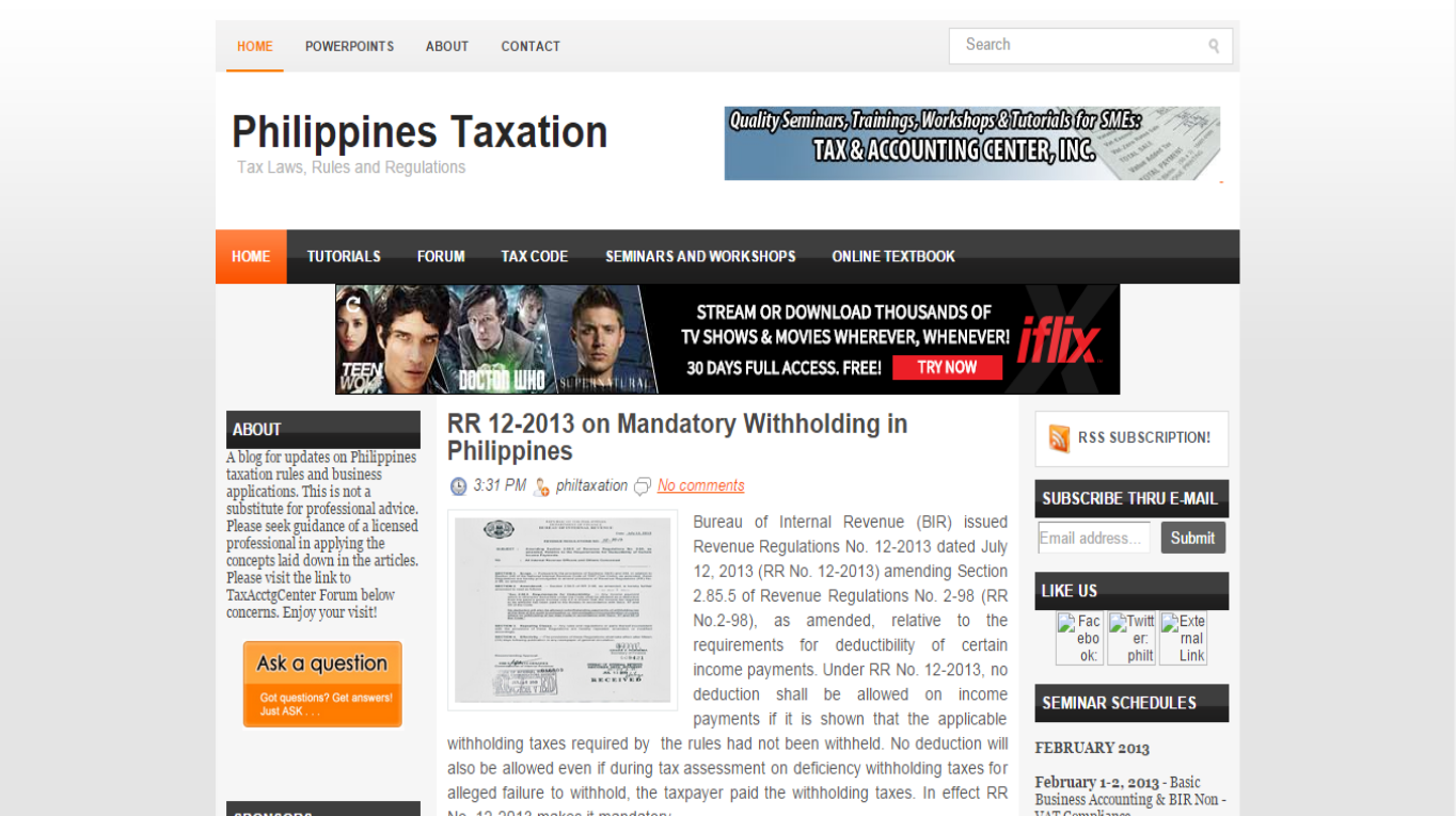 taxation in the philippines The taxes involved in a sale of real estate property this forms part of the seller's other income subject to 30% regular income tax or 2% minimum corporate income tax if the seller is a if the property is located in metro manila or any cities in the philippines, tax must not exceed 75.